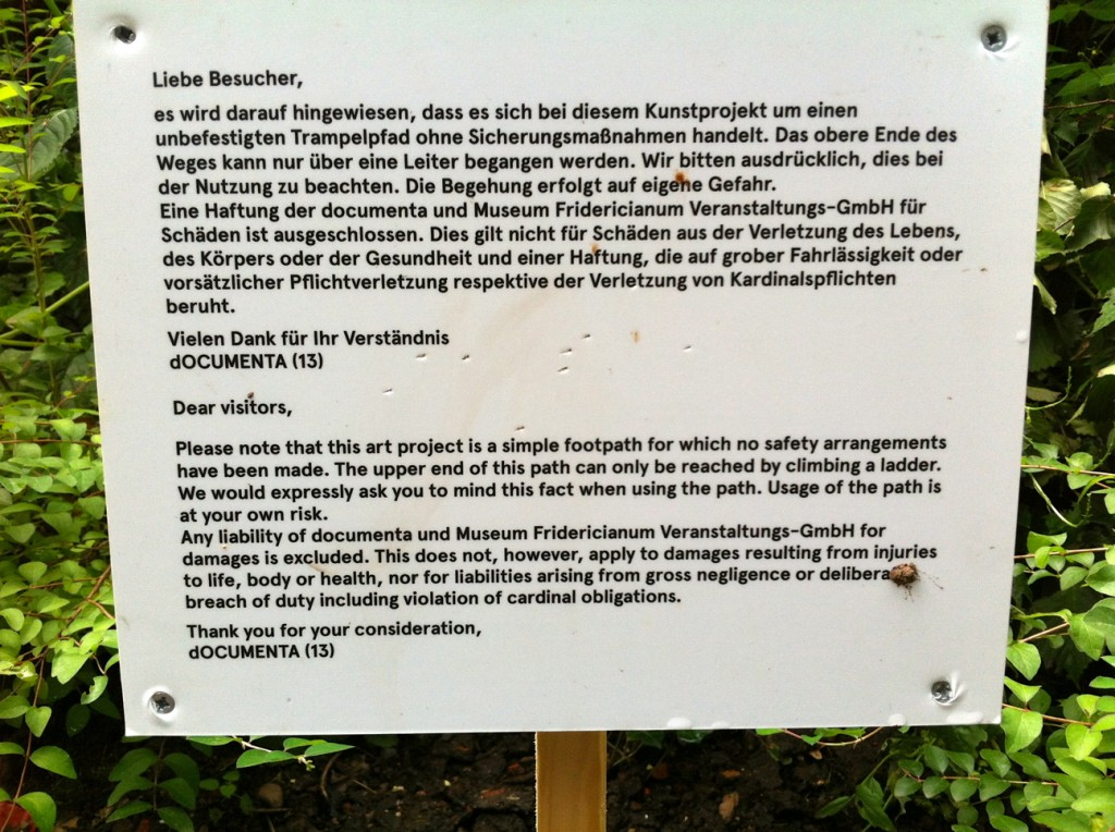 Besucherschild - dOCUMENTA 13