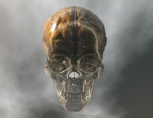 digital visualization of a crystal skull with brain